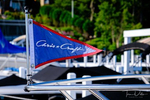 {quote}Chris Craft{quote} flag on a classic boat docked at the Geneva Inn, Lake Geneva, Wisconsin