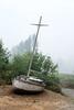 Abandoned sailboat along North River Road along Foster Reservoir near Foster, Oregon