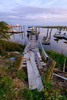 Rickety dock in the harbor in Southport, North Carolina