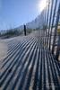 Drift fence shadows on the beach in Hilton Head Island, South Carolina