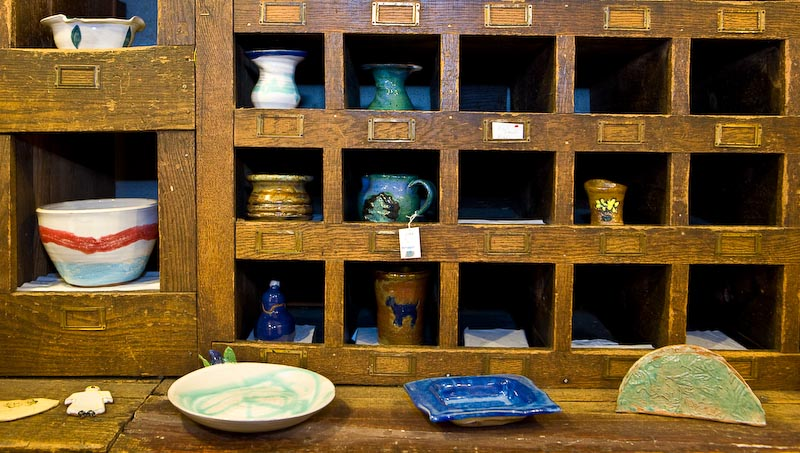Old Parts Bin with Pottery Display, Farmers Hardware