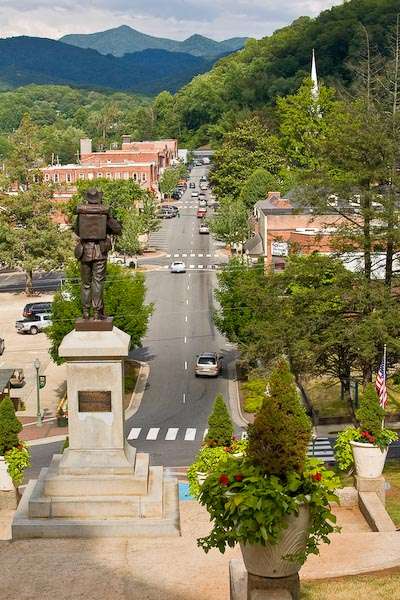 View of downtown Sylva NC from the steps of the Jackson County Court House