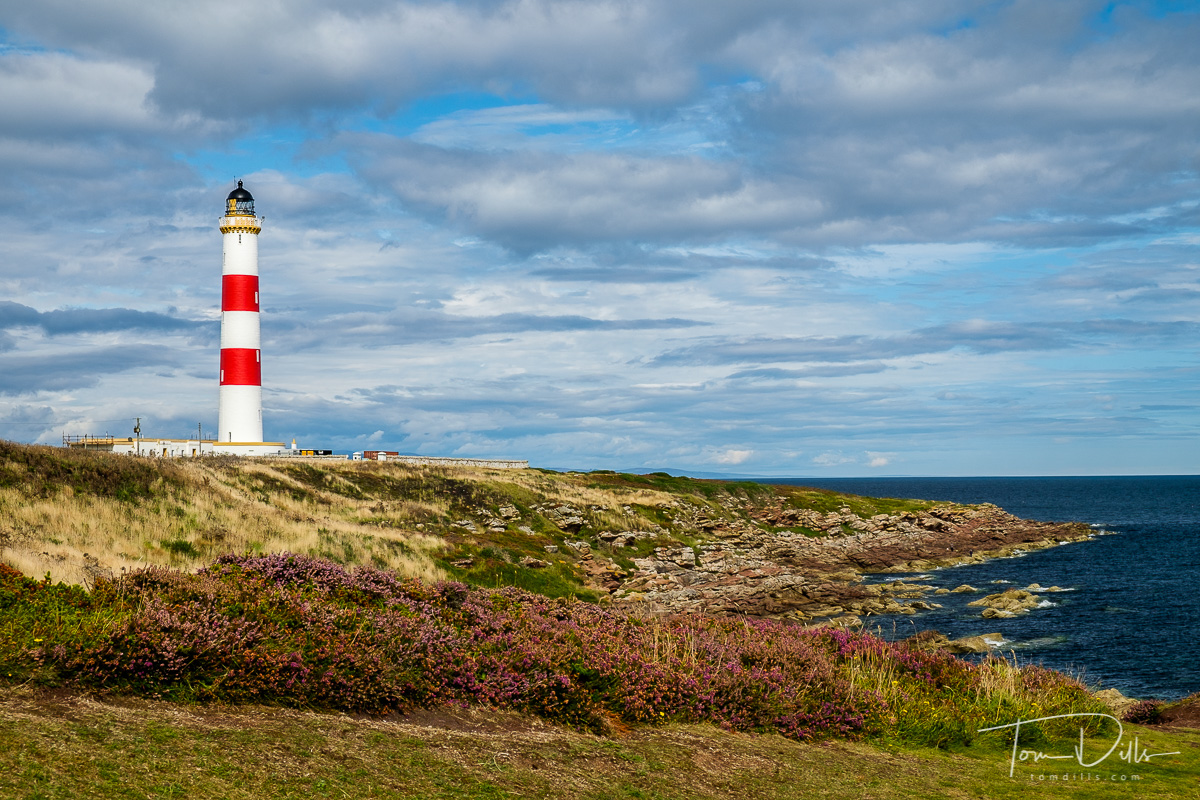 The Tarbat Ness Lighthouse on the Dornock Firth near Wilkhaven, Scotland