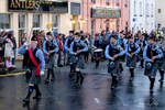 The Isle of Skye Pipe Band performs in downtown Portree
