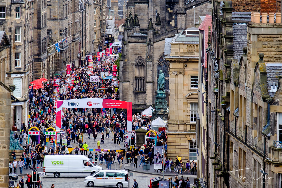 The Royal Mile in Edinburgh during the Fringe Festival