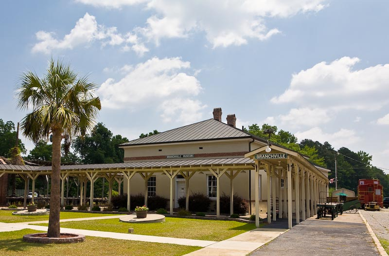 Train station in Branchville, South Carolina.  Restored and currently in use as a museum.