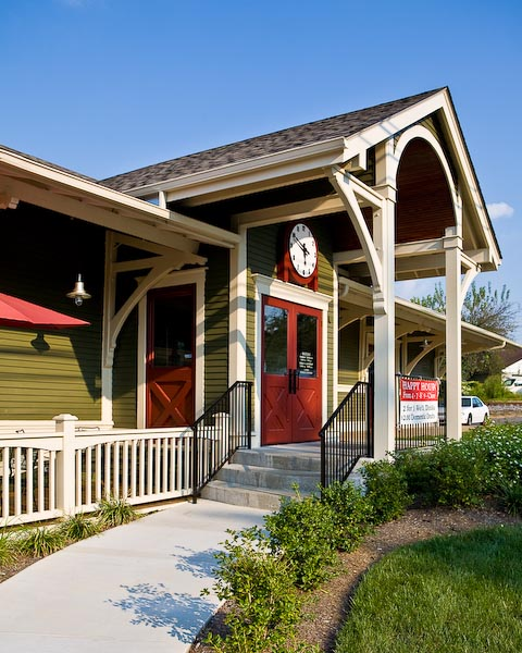 Former train station in Versailles, Kentucky.  Restored and now houses a restaurant