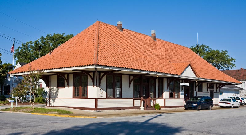 Former train station in Beaufort, North Carolina.  Restored and now operates as a municipal building and community center.