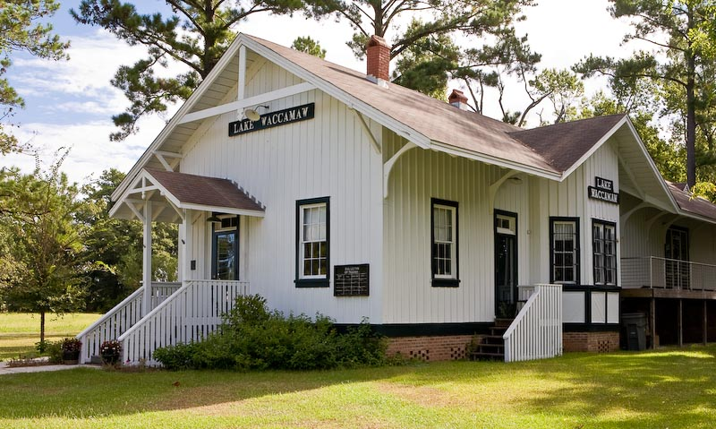 Former train station in Beaufort, North Carolina.  Restored and now operates as a museum and visitor center.
