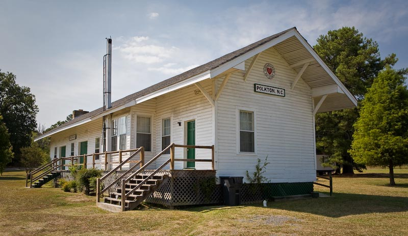 Former train station in Polkton, North Carolina.  Restored and now operates as a community center.