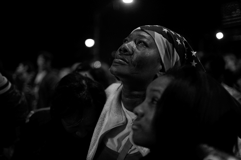Lativa Mitchel weeps tears of joy as Sen. Barack Obama appears on stage in Chicago's Grant Park to deliver his acceptance speech.