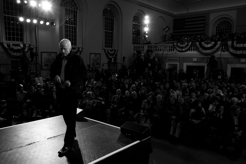 Senator John McCain pauses during a town hall meeting in Peterborough, New Hampshire, two days before the election.