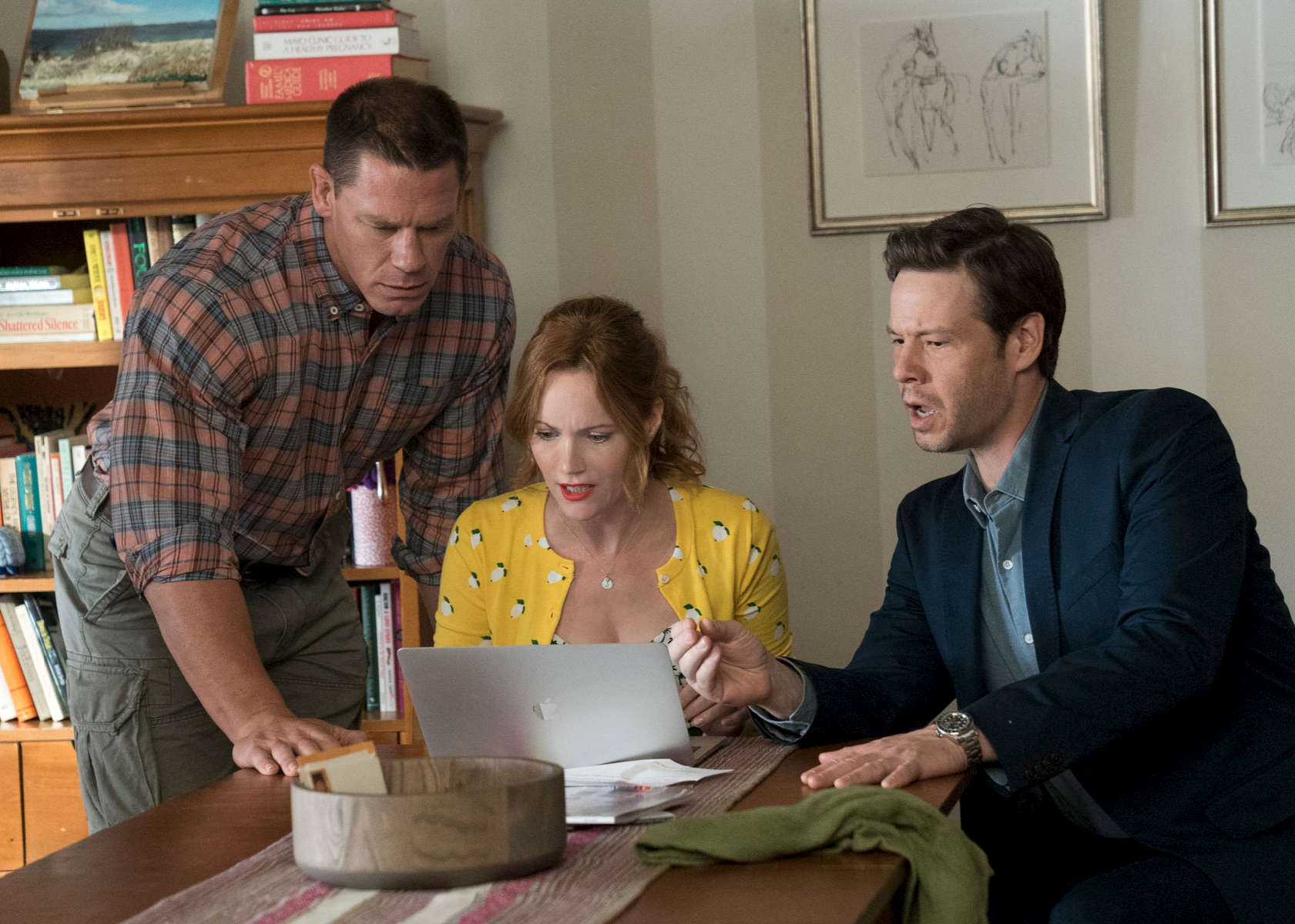 (L to R) JOHN CENA, LESLIE MANN and IKE BARINHOLTZ star in {quote}Blockers,{quote} the directorial debut of Kay Cannon (writer of the {quote}Pitch Perfect{quote} series).  When three parents discover their daughters' pact to lose their virginity at prom, they launch a covert one-night operation to stop the teens from sealing the deal.