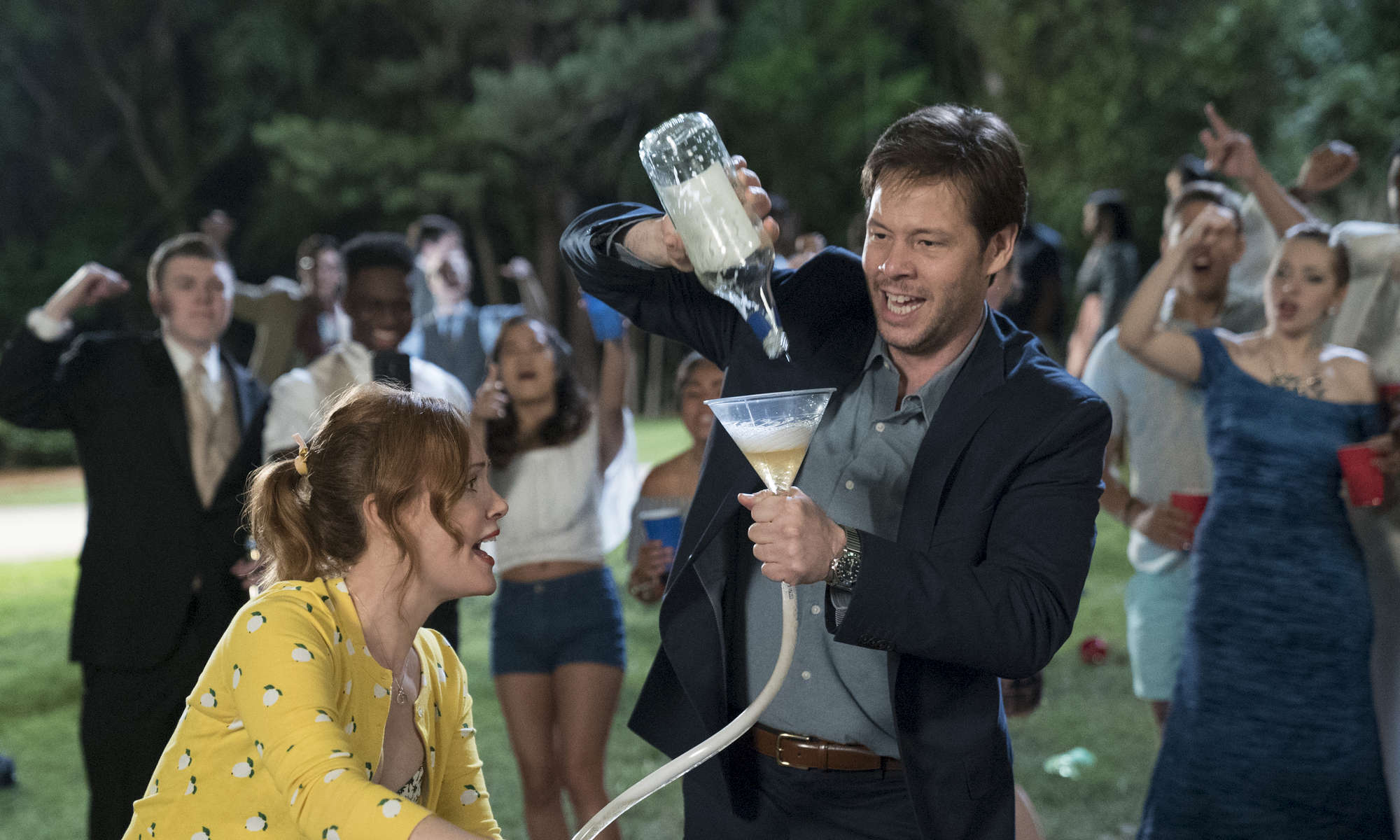 Lisa (LESLIE MANN) and Hunter (IKE BARINHOLTZ) in {quote}Blockers,{quote} the directorial debut of Kay Cannon (writer of the {quote}Pitch Perfect{quote} series).  When three parents discover their daughters' pact to lose their virginity at prom, they launch a covert one-night operation to stop the teens from sealing the deal.