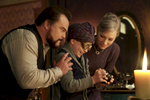(L to R) JACK BLACK, OWEN VACCARO and CATE BLANCHETT star in The House with a Clock in Its Walls, from Amblin Entertainment.  The magical adventure tells the spine-tingling tale of 10-year-old Lewis (Vaccaro) who goes to live with his uncle (Black) in a creaky old house with a mysterious tick-tocking heart.  But his new town's sleepy façade jolts to life with a secret world of warlocks and witches when Lewis accidentally awakens the dead.