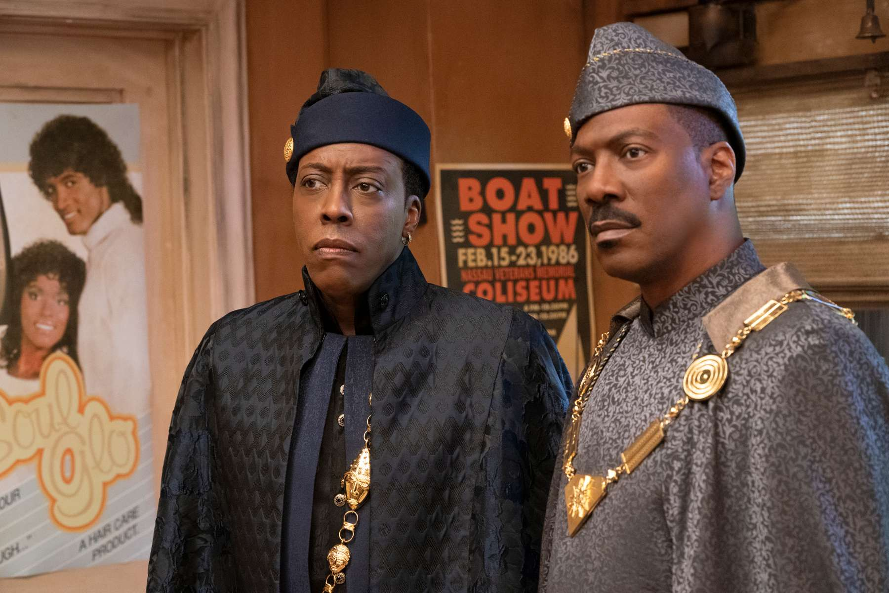 Arsenio Hall and Eddie Murphy star in COMING 2 AMERICA Photo: Quantrell D. Colbert© 2020 Paramount Pictures