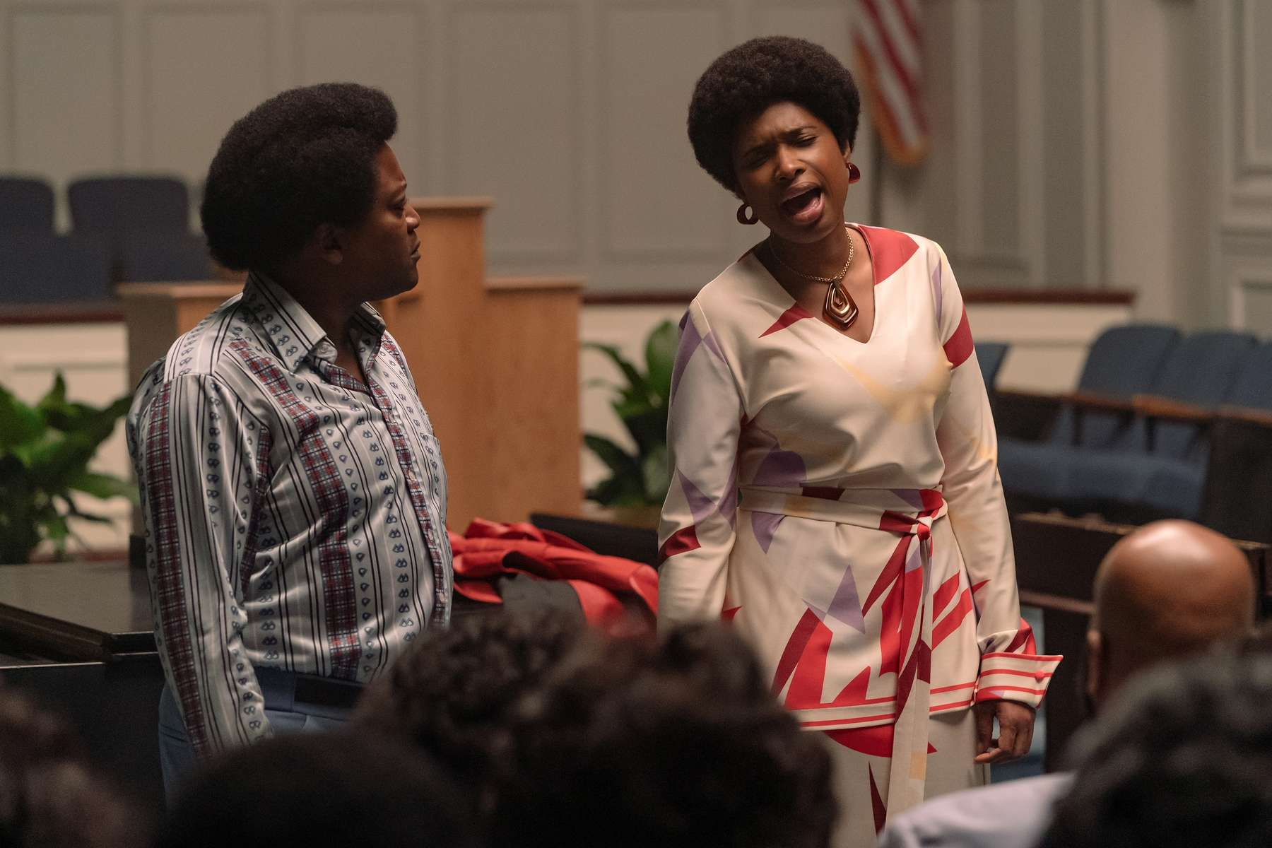 R_22584_RCTituss Burgess stars as Reverend Dr. James Cleveland and Jennifer Hudson as Aretha Franklin inRESPECT, A Metro Goldwyn Mayer Pictures filmPhoto credit: Quantrell D. Colbert© 2021 Metro-Goldwyn-Mayer Pictures Inc. All Rights Reserved