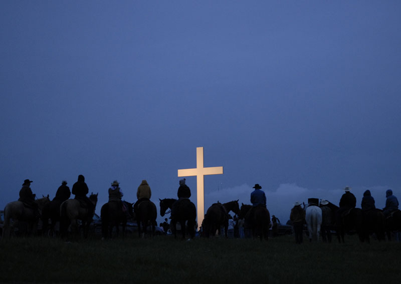 Horseback riders line up prior to the 90th Annual Sutter Buttes Easter Sunrise Service in Sutter.