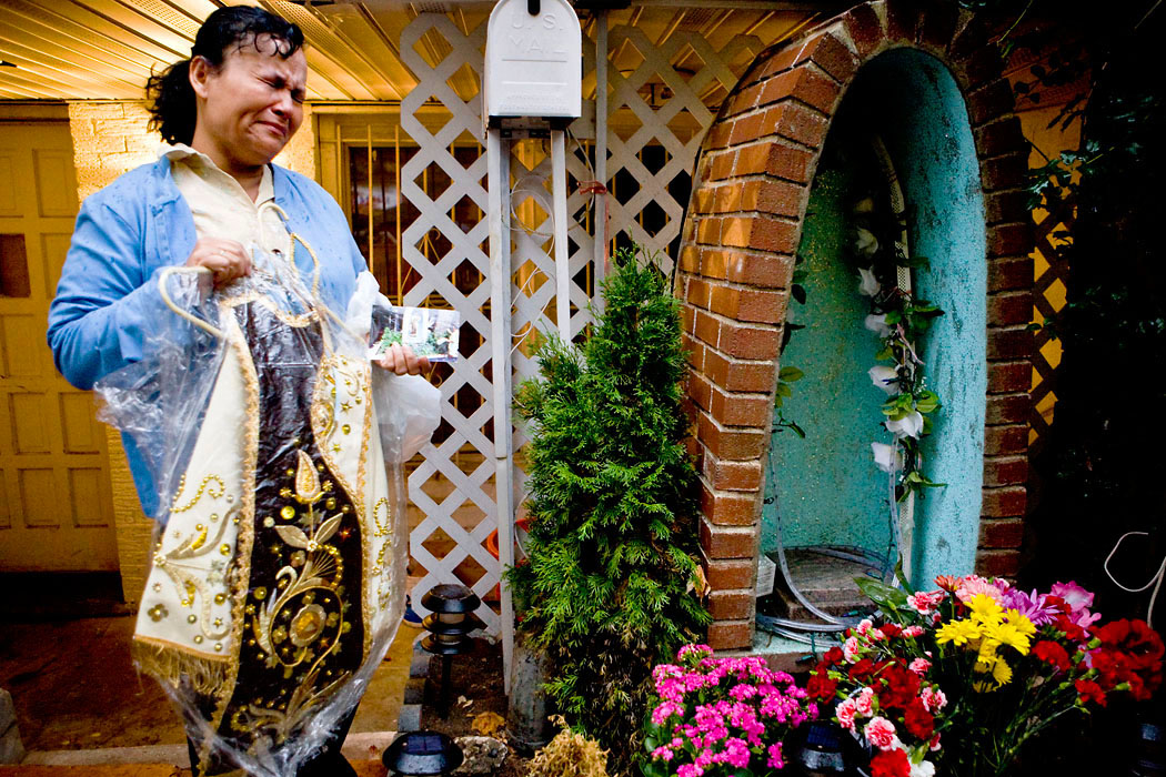Overcome with emotion, Gladys Rodriguez's begins to cry while describing her statue of the Virgin Mary that was stolen from its alter outside her Union City home. Members of Rodriguez's community often used her alter as a place to pray and leave flowers and candles to the Virgin Mary, standing as a symbol of hope for some. The statue came as a gift from her son, who used the figure as an inspirational symbol to help battle his addiction to drugs.