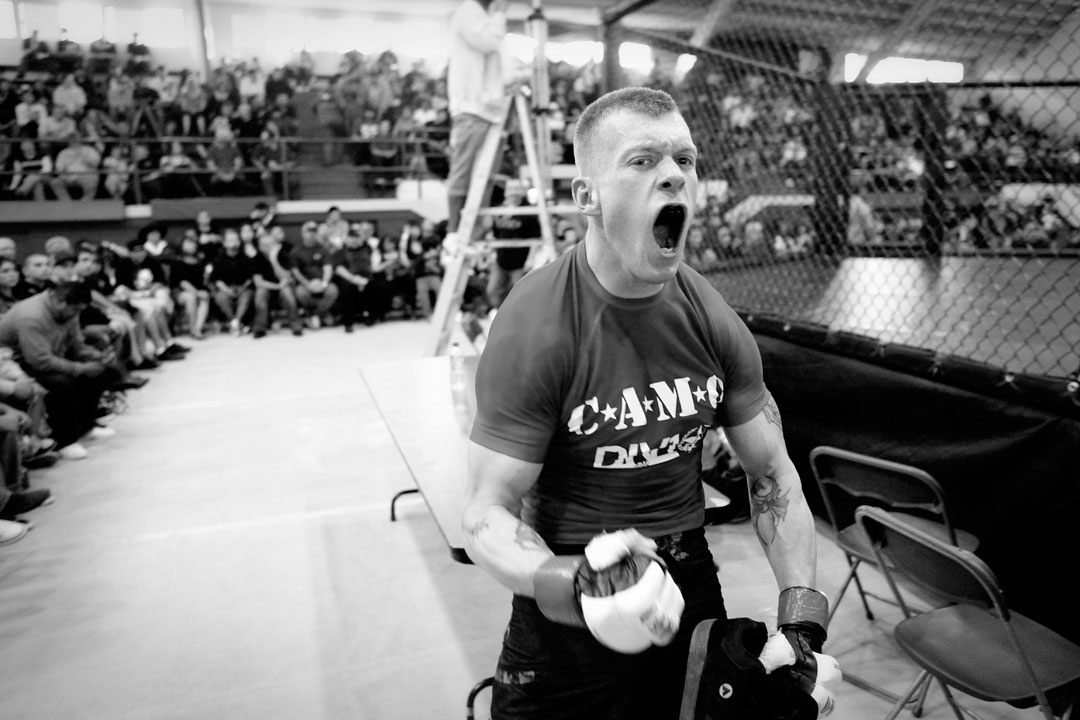 Michael Ellis screams in excitement after leaving the cage with a win over Evan Rodriguez.