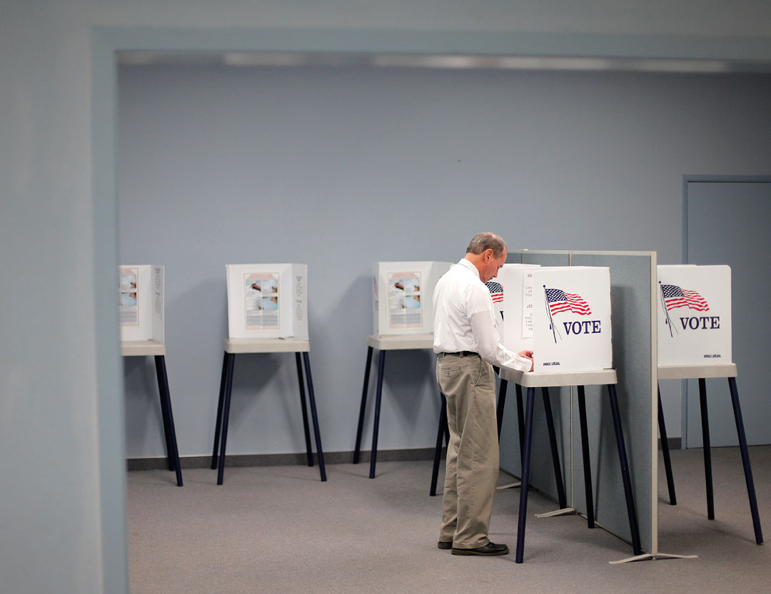 Ed Watson of Salinas places his vote at a polling station Tuesday evening at the Monterey County Elections office in Salinas. The general election in Salinas had a dismal turnout with only about 14% of Monterey County voting in the local elections.