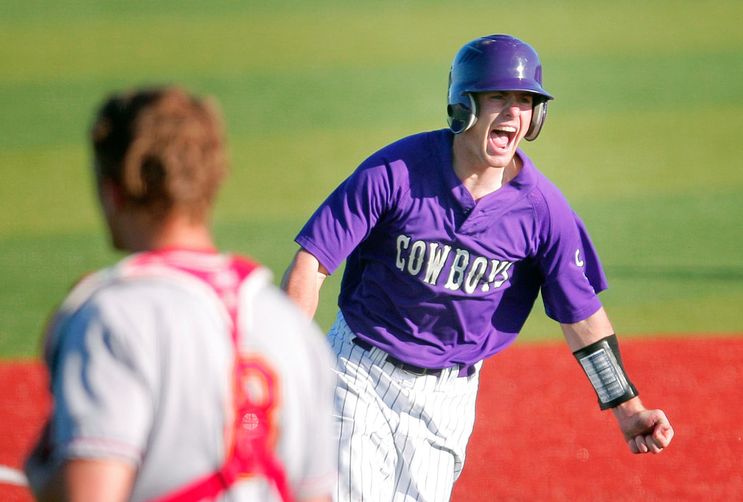 Salinas' Nick Leighton screams with excitement as he rounds third base after hitting a walk off home run against Palma on Friday at Hartnell College.