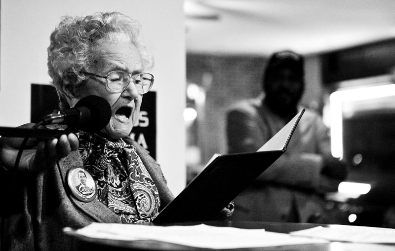 Performing in front of Obama supporters at the Nostalgia Cafe in Jersey City, Grace Linkhorn performs a speech she previously prepared. Listing off the many historic events Linkhorn has witnessed in her time, she proudly states, {quote}I was there.{quote}