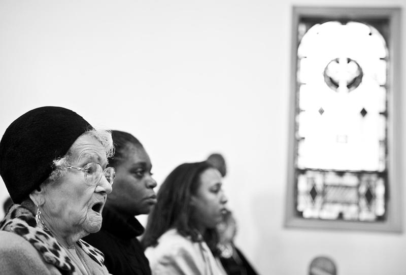 Grace Linkhorn sings along with the choir at Mt. Pisgah Church before the November 4th election. She has been a member of the church for over seventy years, but said that this day was particularly special. {quote}I am saying a prayer for him (Barack Obama),{quote} Linkhorn said during the service.