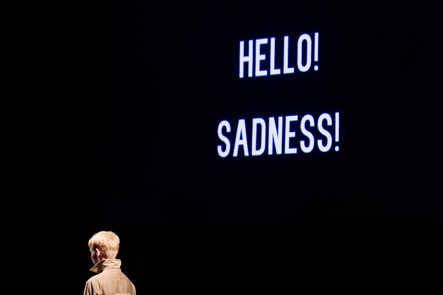 Mary Tuomanen in the premiere of her one woman show Hello! Sadness! at the SEI Innovation Studio at the Kimmel Center for the Performing Arts.