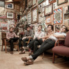 Photographic portrait of Americana/folk band, Buxton, at Doug's Barbershop in Houston, Texas for their record label, New West Records.