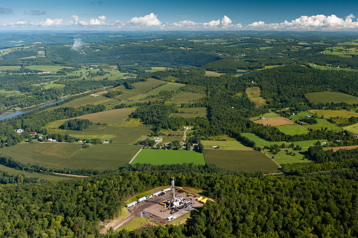 Marcellus Shale region of Pennsylvania. The recent devolopment of shale gas deposits threatens the traditional agricultural industry of the region.