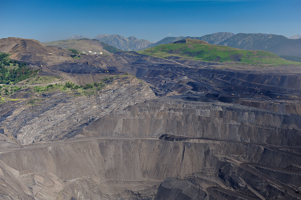 Mountaintop removal coal mining. Greenhills Mine, Elk Valley beside Flathead Valley, B.C.