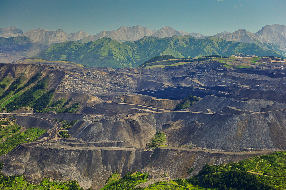 Mountaintop removal coal mining. Greenhills Mine, Elk Valley beside Flathead Valley, B.C.