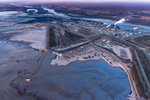 Suncor Upgrader, mines, tailings ponds, and Athabasca River. Alberta Oil/Tar Sands, Northern Alberta, Canada.