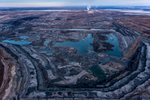 Syncrude Upgrader, mines, tailings ponds, and Athabasca River. Alberta Oil/Tar Sands, Northern Alberta, Canada.