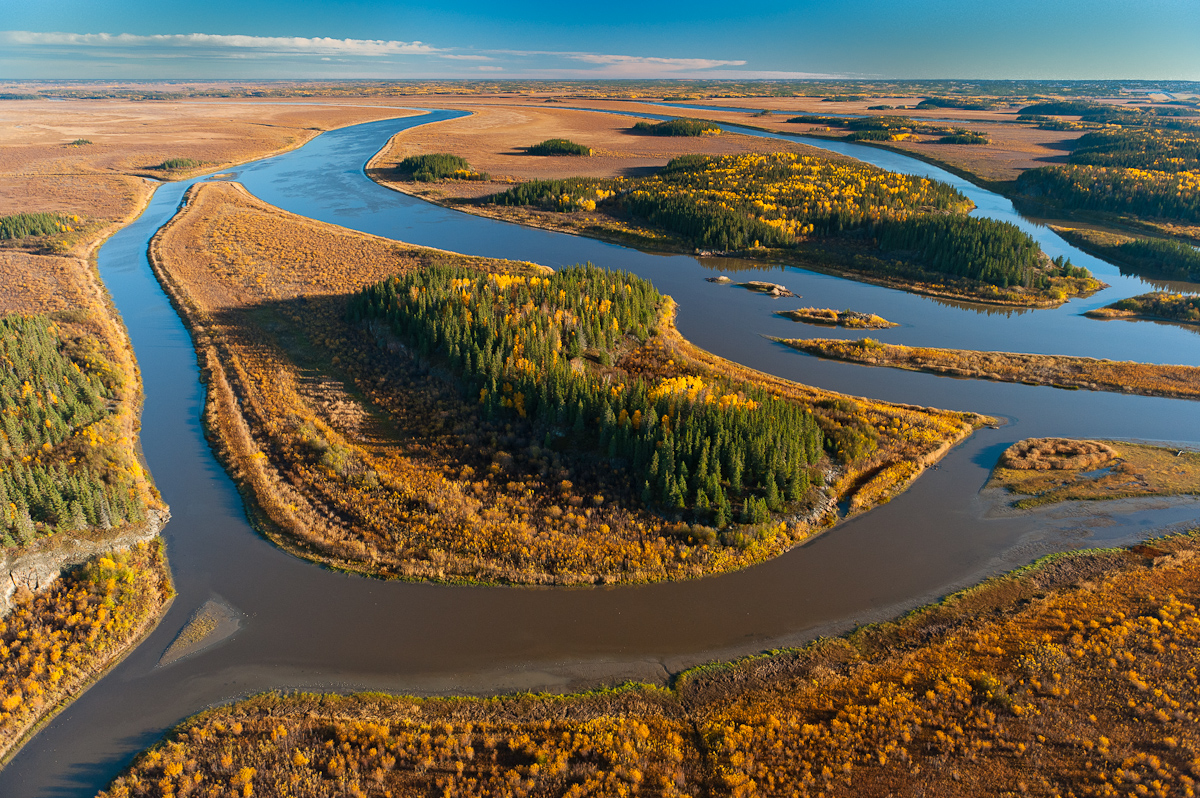 The Slave River enters the Peace Athabasca Delta downstream from the Alberta Tar Sands or Oil Sands.