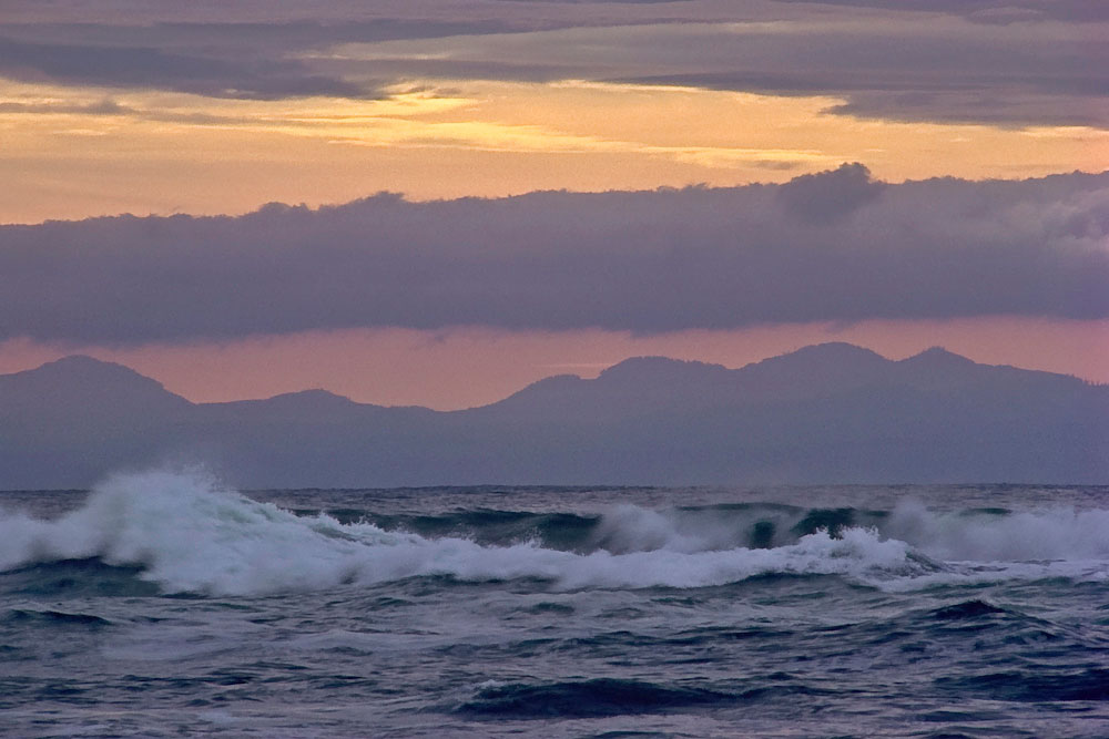 Strait of Juan de Fuca and Olympic Mountains from Botanical Beach.Southwest coast of Vancouver Island,B.C. Canada