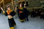 Kalash children studying Kalash dance and music at the Kalasadur School in the village of Brun in preparation for a summer festival. Built by the Greek Teachers NGO, the school aims to reinforce the indigenous culture of the Kalash people of Pakistan's Hindu Kush Mountains.