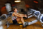 Oympic rower Michelle Guerrette works out at Harvard University.