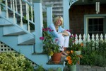 Sigrid Olsen on the steps to her home studio and gallery at Rocky Point, Massachusetts.