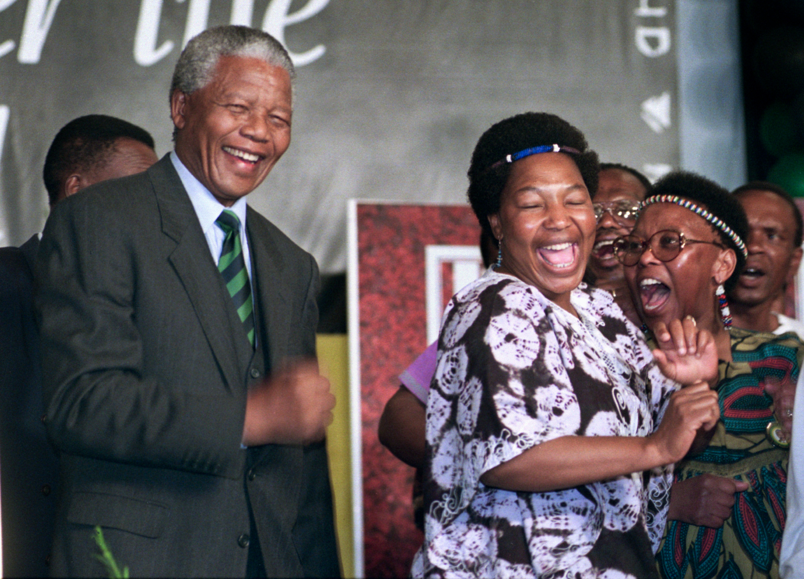 Nelson Mandela dances after making victory speech at the Carlton Hotel in Joburg.Mandatory Credit: Anacleto Rapping/The LA Times