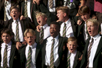 Private school boys from Johannesburg sing school song prior to Rugby tournament.Mandatory Credit: Anacleto Rapping/The LA Times