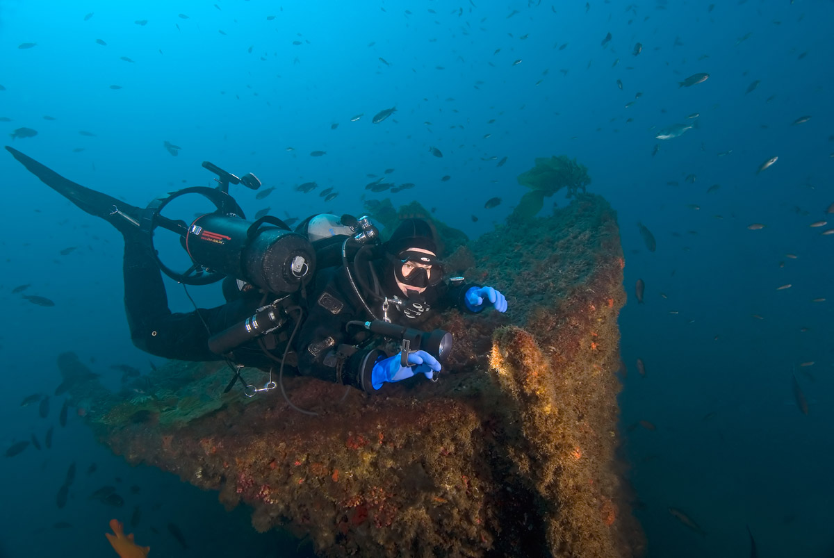 This is the top of the 80-year old wreck, {quote}the Valiant{quote} sitting in about 95 feet of water just off of Catalina Island.