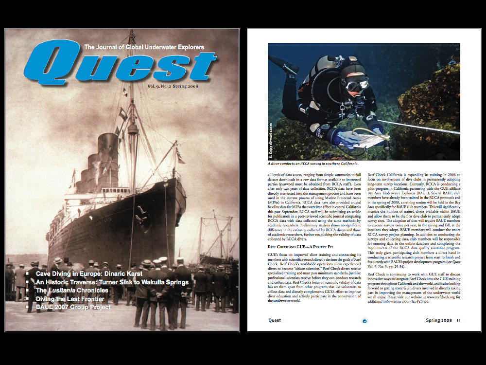 Quest is a quarterly magazine published by Global Underwater Explorers. Quest seeks to help grow a global community that shares GUE's commitment to education, conservation and exploration.
