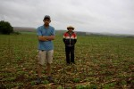 Lote 8, Minga Porá district, Alto Paraná--October 29, 2008--Brothers Ángel and Pedro Ramirez stand on the plot of land where their family's home once existed, now a transgenic soybean field. They, like most of their neighbors, sold their home in Lote 8 once the fumigation started. Ángel (27 years old, left), a self-described militant, puts it this way: {quote}It's either leave, or stay and die.{quote}