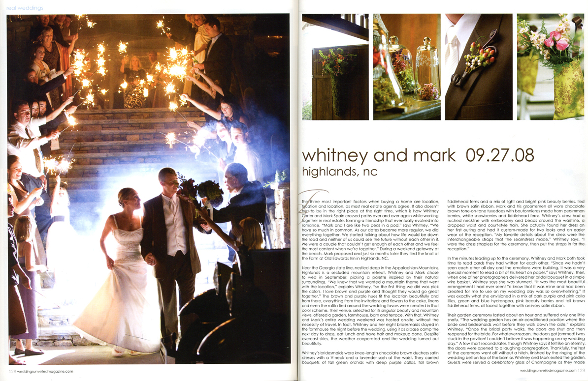 The backdrop for Whiteny and Mark's wedding was the luxurious Farm at Old Edwards Inn. Nestled in the quite town of Highlands, North Carolina. Mark Spain, Weddings Unveiled, Elegant,  bride magazine, luxury hotel, bed and breakfast