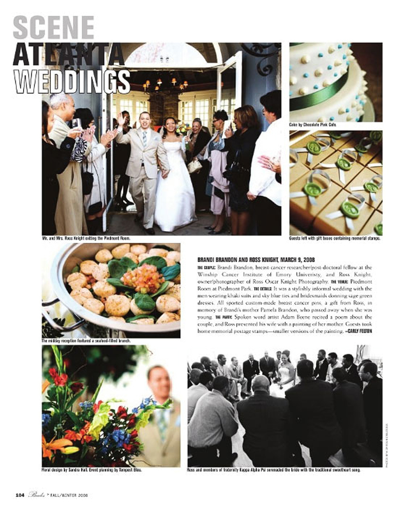 What a wonderful story of Ross & Brandy that was featured in this issue. Groom is of Ross Oscar Knight Photography at the Piedmont Room