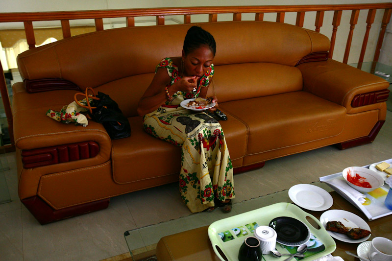 Private moments are few and far between for Nkrumah, enjoying Ghanaian food at her campaign headquarters in  Bejin, Ghana. The former consultant and freelance journalist faces criticisms that living in Europe has left her out of touch with the needs of Ghanaians.
