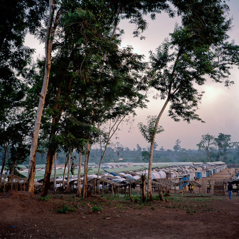 The Nahibly refugee camp outside of Duekoue, Ivory Coast. Duekoue was the site of heavy fighting and a large massacre that saw hundreds dead during last year's post-election violence, and many people still refuse to leave the relative comfort and security of the refugee camp to return home.