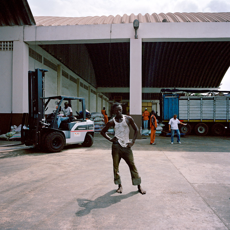 Manual laborers at Saf Cacao in San Pedro, Ivory Coast.